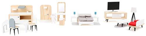 small foot 11414 Puppenhausmöbel Komplett-Set aus Holz, Wohnzimmer, Küche, Schlafzimmer und Badezimmer, ab 3...