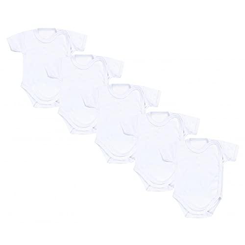 TupTam Unisex Baby Kurzarm Wickelbody 5er Pack, Farbe: Weiß, Größe: 62