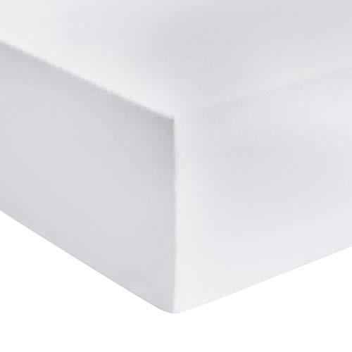 Amazon Basics - Premium-Spannbetttuch, Jersey, Weiß - 90 x 200 cm