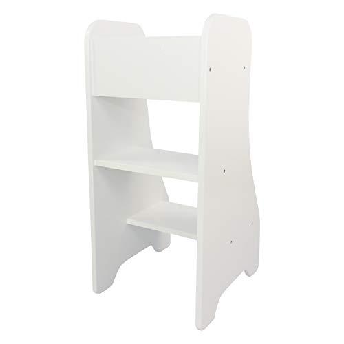 Puckdaddy Entdeckerturm Turmine - 43x50x94 cm, Kinder-Hochstand aus Holz in Weiß, praktischer Küchenhelfer...