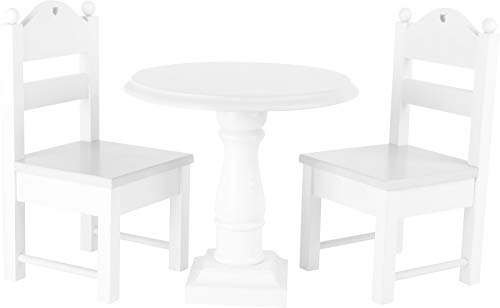 small foot 10744 Puppenmöbel 'Weiß' aus Holz, ein runder Tisch und zwei Puppenstühle, mit Verzierungen, ab...