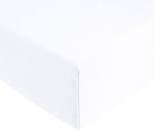 AmazonBasics 'Everyday' Spannbetttuch aus 100%, Baumwolle, 90 x 200 x 30 cm - Weiß