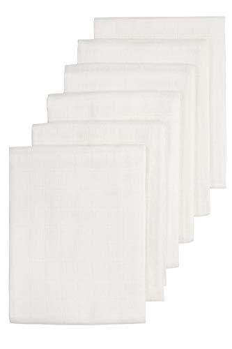 Meyco 452100 6 Stück Stoffwindeln Mullwindeln Musselinwindeln Spucktücher 70x70cm 100% Baumwolle Weiß