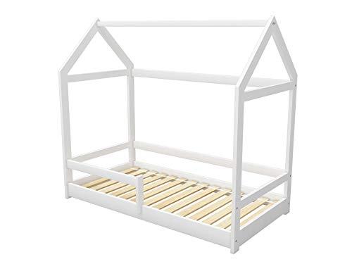 ACMA Kinderbett Kinderhaus Kinder Bett Holz Haus Schlafen Spielbett Hausbett 2 - Massivholz (Weiß, 70 x 140...