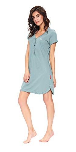 dn-nightwear Damen Umstandsnachthemd/Stillnachthemd aus 100% Baumwolle (Medium, Mineral-Grau)