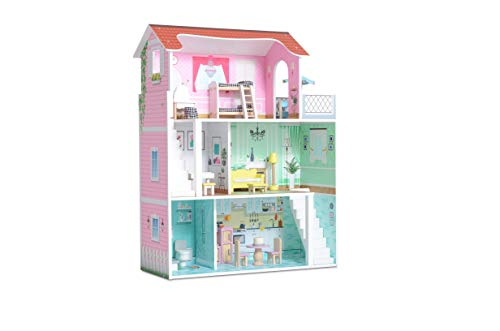 Milliard Puppenhaus aus Holz, Große Spielset mit Möbeln und Zubehör - Perfekt für Mädchen und Jungen