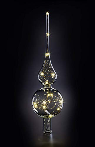 KRINNER LUMIX Tree Topper, kabellose, mundgeblasene Power LED Christbaumspitze, Klar, Art. 76030