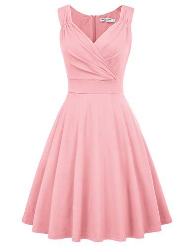 Retro Kleid a Linie v Ausschnitt Kleid Damen 50s Kleid a Linie trägerkleider Fashion Kleid CL698-10 S