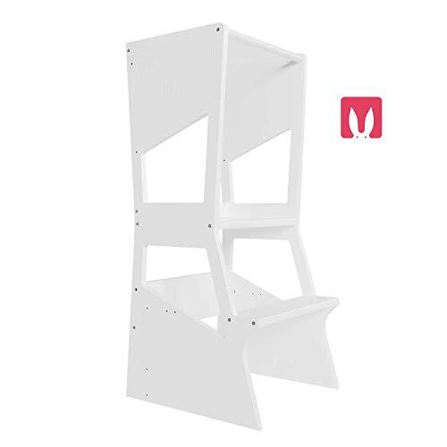 Bianconiglio Kids ® MOKA 2.0 Montessori Lernturm Höhenverstellbare Ablagen (Weiß)