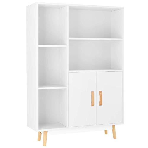 Homfa Kommode Sideboard Schrank Schubladenkommode Highboard Anrichte mit 2 Türen 5 Fächern weiß 80 x 23.5...