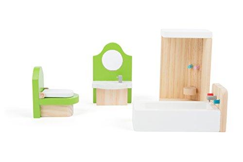 Small Foot 10872 Puppenmöbel aus Holz für das Badezimmer im Puppenhaus, inkl. Waschtisch, Badewanne, Dusche...