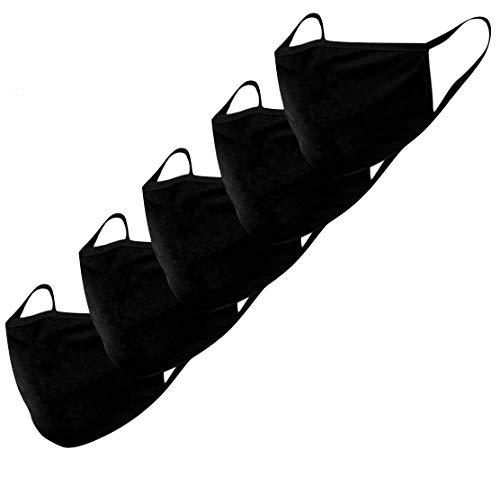 Stoffmaske Mund-Nasen-Schutz Behelfsmasken 5 Stück waschbar wiederverwendbar schwarz Baumwolle Damen Herren...