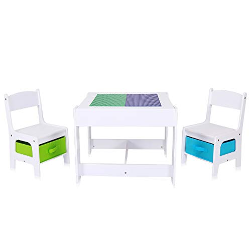 Baby Vivo Kindersitzgruppe Kindertischgruppe Kindermöbel Kinderzimmer Set mit multifunktionalem Tisch und 2...