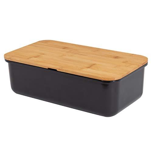 Mack geräumiger Brotkasten aus Melamin mit Brotbox mit Bambusdeckel als Schneiderbret Maße 38 x 21 x 13cm in...