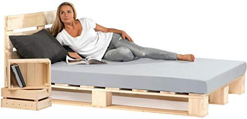 sunnypillow Palettenbett mit Kopfteil 80 90 100 120 140 160 180 200 220 240 x 200 cm Holzbett Bett aus...
