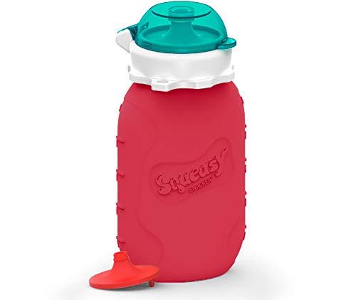 Squeasy Snacker, 180ml - Rot - Wiederverwendbares Quetschie aus Silikon. Quetschbeutel zum selbst befüllen,...