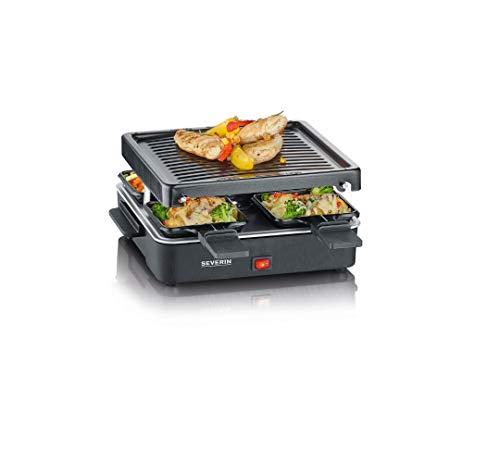 SEVERIN Mini Raclette-Grill, kleines Raclette mit antihaftbeschichteter Grillplatte und 4 Raclette Pfännchen,...