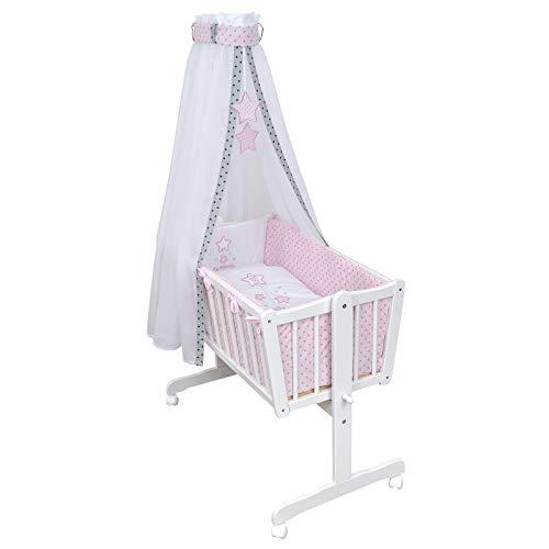 Baby Delux Babywiege Komplettwiegenset Stubenwagen mit Wiegenset Magic Stars rosa inkl. kompletter Ausstattung...