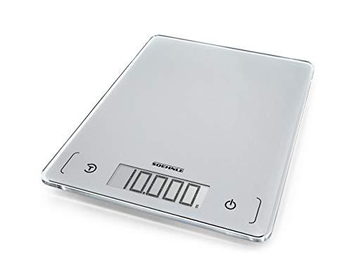 Soehnle Page Comfort 300 slim, digitale Küchenwaage, silber, Gewicht bis zu 10 kg (1-g-genau), runde...