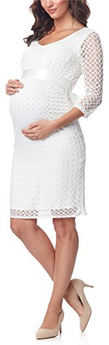 Be Mammy Damen Umstandskleid Maternity Schwangerschaftskleid BE20-170 (Ecru2, XXL)