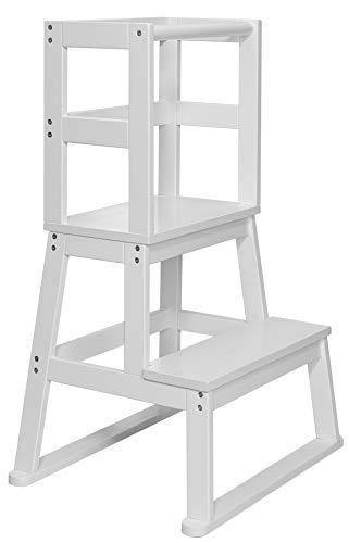 BOMI® Babystuhl Swubi aus Holz für Kinder ab dem Stehalter | Hocker zweistufig extra hoch | Trittschemel,...
