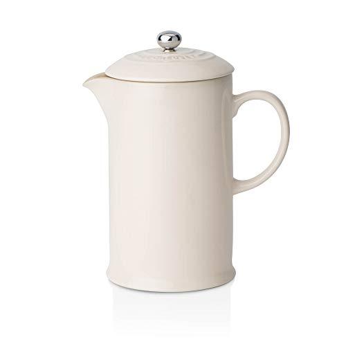 Le Creuset Kaffee-Bereiter/French Press mit Edelstahl-Presseinsatz, 1000 ml, Steinzeug, Creme
