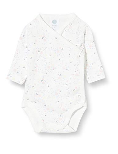 Sanetta Baby-Mädchen Broken White Wickelbody Langarm feinem tausend Blumen Design und Schleifchen, beige, 062