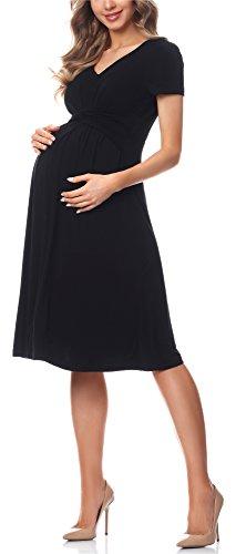 Be Mammy Damen Umstandskleid Maternity Schwangerschaftskleid BE20-223 (Schwarz, L)