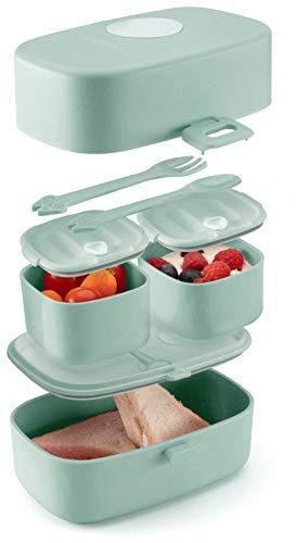Evolico ♻ Nachhaltige Lunchbox für Kinder - 3 integrierte praktische Dosen - Extra kinderfreundliche Bento...