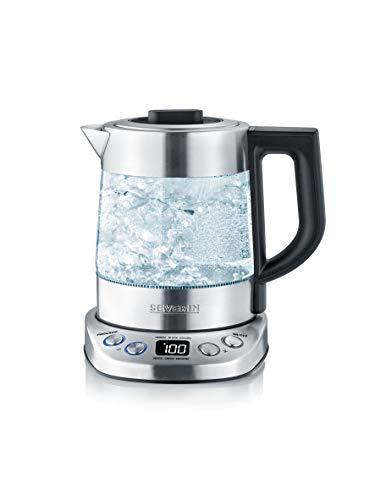 SEVERIN WK 3473 Glas-Tee-/Wasserkocher Deluxe Mini (ca. 2.200 W, mit Temperaturregler, Für 1 L Wasser/0,75 L...