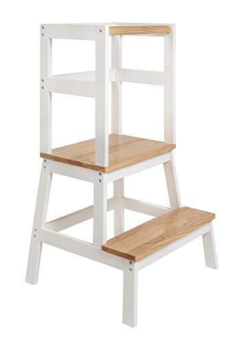 BOMI® Babystuhl aus Holz für Kinder ab dem Stehalter | Hocker zweistufig extra hoch | Trittschemel,...