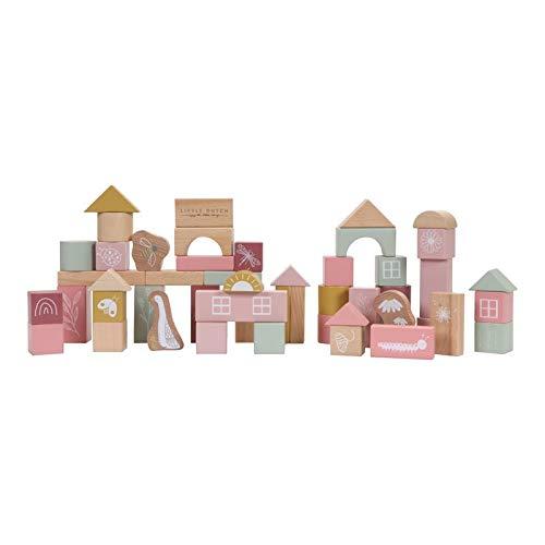 Little Dutch 7018 Bauklötze aus Holz in Box Kleine Gans rosa 50 Stück