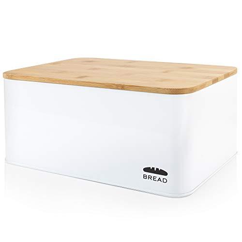 Granrosi Brotkasten mit Bambus Schneidebrett - Geräumige Metall Brotbox mit Holzdeckel hält Brot und...