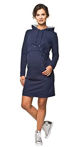 Torelle Maternity Wear Damenkleid sportlich Baumwolle Umstandskleid Stillkleid, Modell: Hoodie, dunkelblau, L
