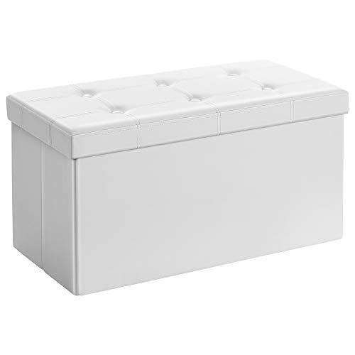 SONGMICS Sitzhocker Sitzbank mit Stauraum faltbar 2-Sitzer belastbar bis 300 kg Kunstleder, weiß, 76 x 38 x...