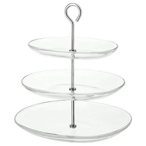 IKEA Glas-Etagere 'KVITTERA' 3-fach Etagére mit kombinierbaren, abnehmbaren Tellern aus Glas mit hohen Kanten...