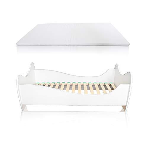 Alcube Kinderbett White Swing weiß 140 x 70 cm mit Rausfallschutz, Lattenrost und Matratze MDF beschichtet