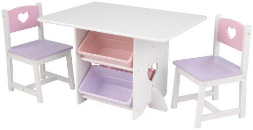 KidKraft 26913 Kindertisch Heart mit Stühlen, weiß