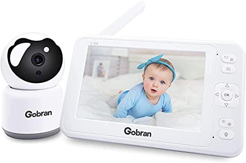 Babyphone mit Kamera 5 Zoll 1080P HD Video 360°Drehung 2 Erweiterbare Kameras, Gobran Videoüberwachung VOX...