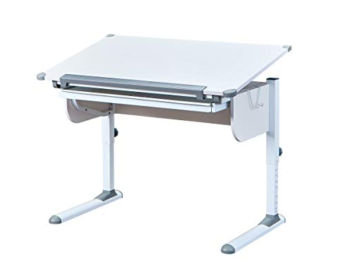 Inter Link Schreibtisch Schülerschreibtisch ergonomisch mit Schublade aus Metall und MDF in Weiss und Grau,...