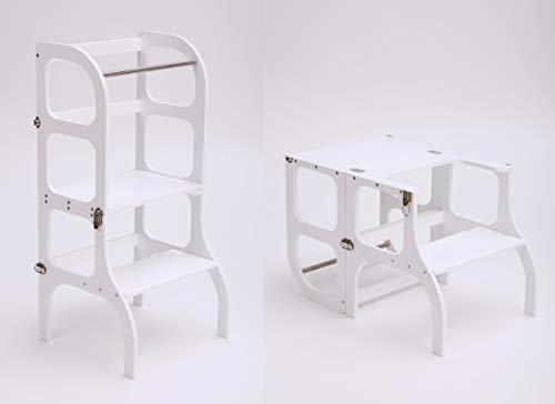 Multifunktionaler Lernturm'Step'n sit' nach Montessori in Weiß/Tisch und Küchenhelfer in...