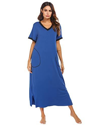 ADOME Nachthemd Damen Stillnachthemd Bodenlang Kurzarm Umstandskleid Knielang Nachtwäsche Nachtkleid mit...