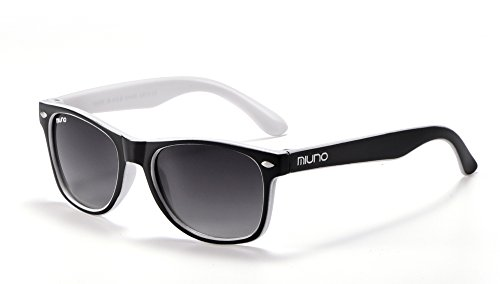 Miuno® Kinder Sonnenbrille Wayfare für Jungen und Mädchen Etui 2688 (Schwarz/Weiß)