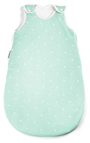 Ehrenkind® Babyschlafsack Rund | Bio-Baumwolle | Ganzjahres Schlafsack Baby Gr. 74/80 Farbe Mint mit weißen...
