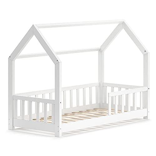 VitaliSpa Kinderbett Hausbett Spielbett Wiki 80x160 inkl Lattenrost (Weiß, Bett)