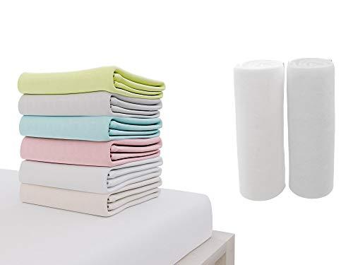 Dreamzie - 2er SetSpannbettlaken 70x140 cm - 100% Jersey Baumwolle Zertifiziert Oeko-TEX® - Weiß und Grau -...
