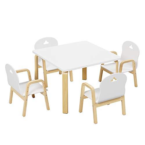 Homfa Kindertisch mit 4 Stühlen höhenverstellbar Kindersitzgruppe Kindertischgruppe Kinderschreibtisch Eiche...
