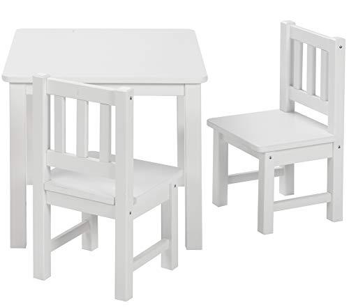 BOMI Kindertisch mit 2 Stühlen Amy | abgerundete Ecken und Kanten | aus Kiefer Massiv | Holz sitzgruppe kind...
