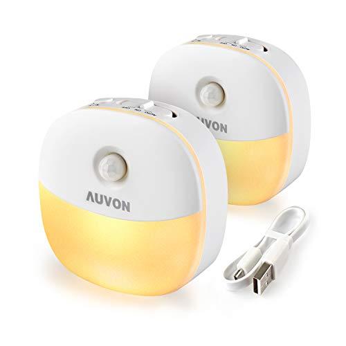AUVON LED Nachtlicht mit Bewegungsmelder, Aufladbar USB Nachtlicht Kinder mit 3 Modi (Auto/ON/OFF), Warmes...
