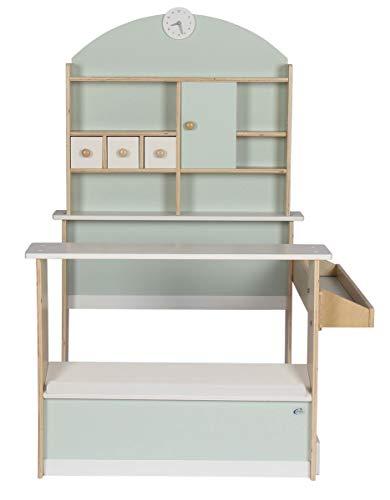 Coemo Kaufladen Kinder Kaufmannsladen Holz Verkaufsstand mit 3 Schubladen Schrank Uhr Theke Seitentheke